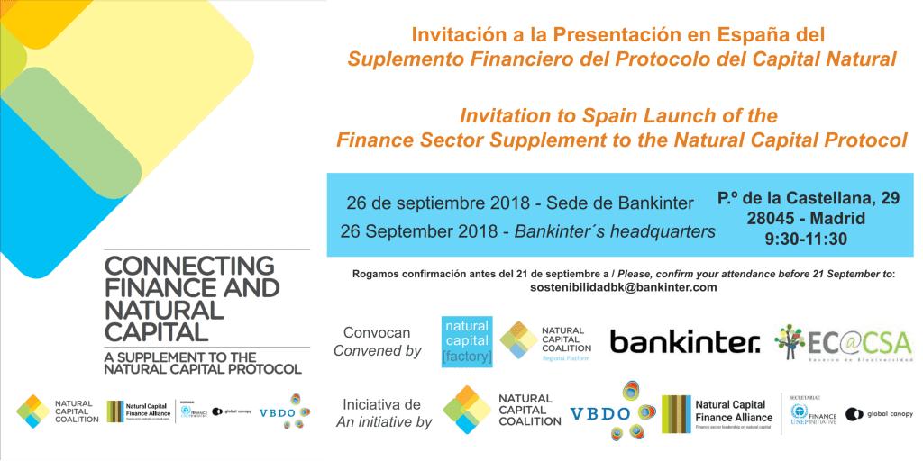 Presentación en España de Conectando las finanzas y el capital natural: Un suplemento del Protocolo del Capital Natural