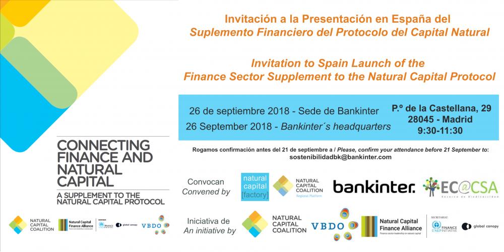PRESENTACIÓN EN ESPAÑA DEL SUPLEMENTO FINANCIERO DEL PROTOCOLO DEL CAPITAL NATURAL